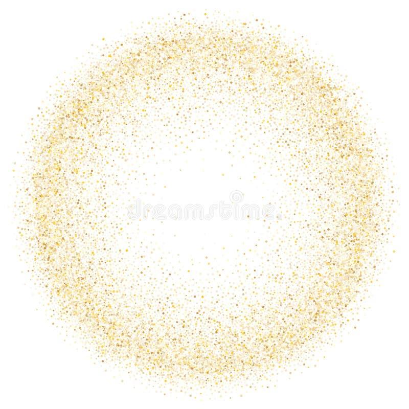 Złoto błyska błyskotliwość pyłu confetti wektoru ramy granicy kruszcowego tło royalty ilustracja