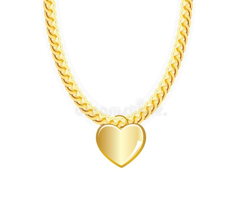 Złoto biżuterii Whith Łańcuszkowy serce wektor ilustracja wektor