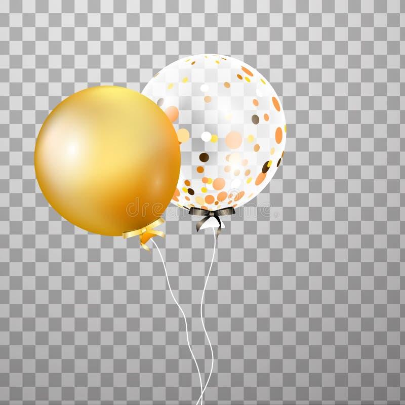 Złoto, biały przejrzysty helu balon w powietrzu Frosted przyjęcie szybko się zwiększać dla wydarzenie projekta Partyjne dekoracje royalty ilustracja