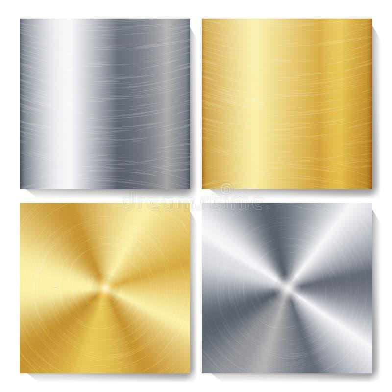 Złoto, brąz, srebro, Stalowego metalu technologii tła Abstrakcjonistyczny set Okrzesana, Oczyszczona tekstura, również zwrócić co royalty ilustracja