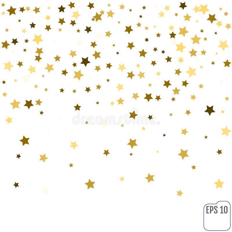 Złoto confetti gwiazdowego deszczu świąteczny wakacyjny tło Wektorowy golde ilustracji
