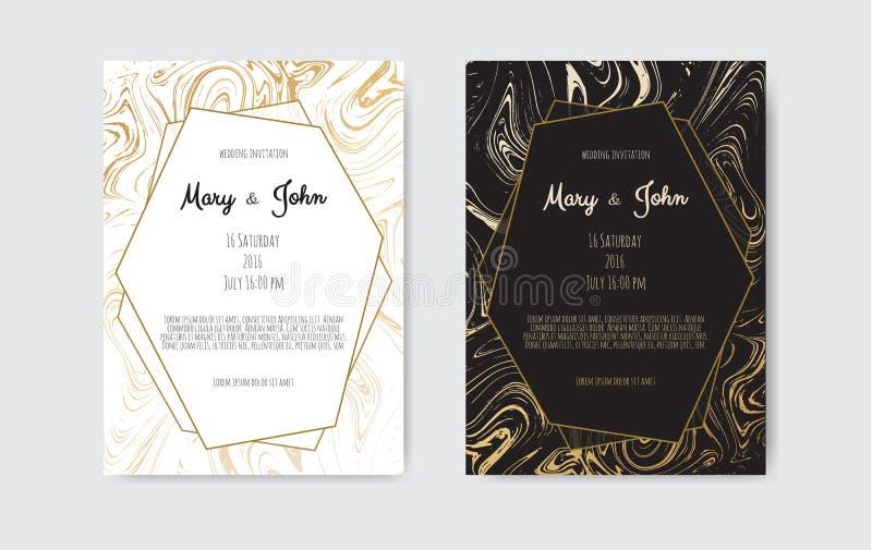 Złoto, czerń, bielu marmurowy szablon Modny wzór, graficzny plakat, geometryczna broszurka, karty ilustracja wektor