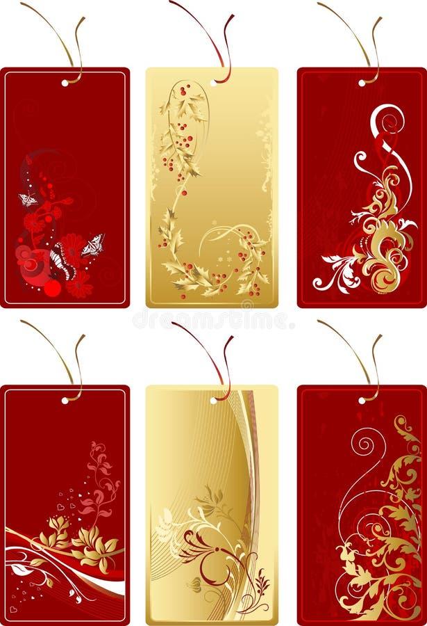 złoto czerwony etykietowania zestaw ilustracji