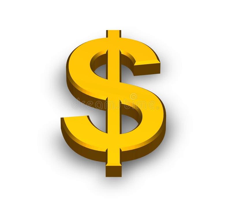 złoto dolarowy znak ilustracja wektor