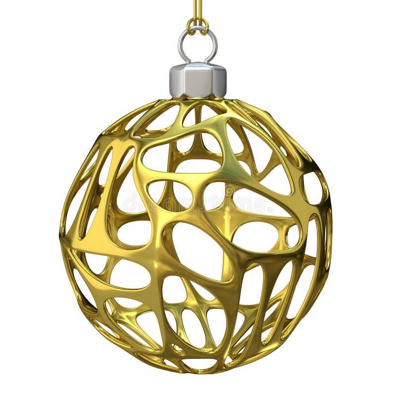 Złoto dziurkowata Bożenarodzeniowa piłka 3 d czynią ilustracji