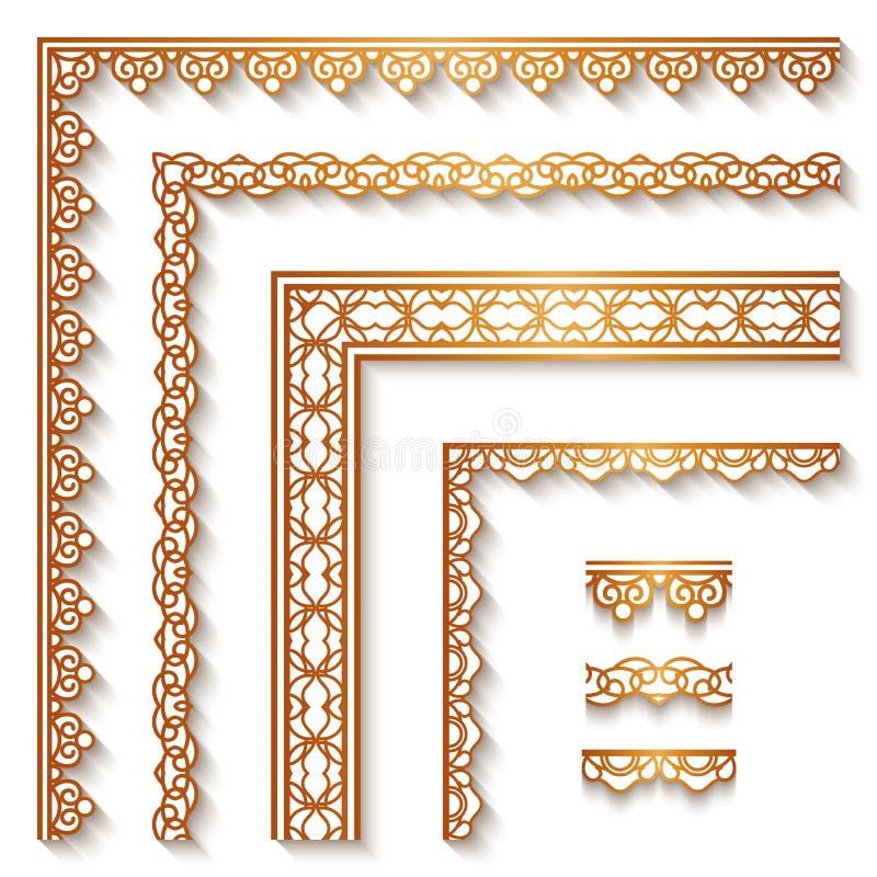 Złoto granicy na bielu i kąty ilustracji