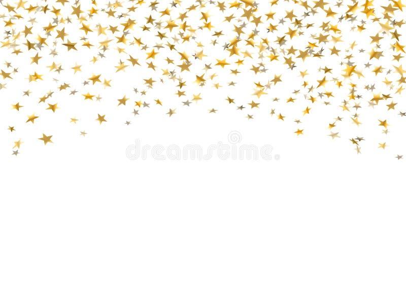 Złoto gwiazd spada confetti na białym tle Złoci abstrakta deszczu confetti Dekoraci błyskotania wybuch ilustracji