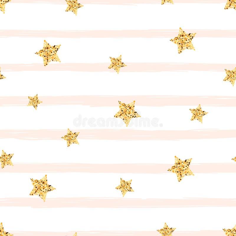 Złoto gwiazda - bezszwowy wzór śliczna ilustracja Pomysł dla druk koszulki ilustracja wektor