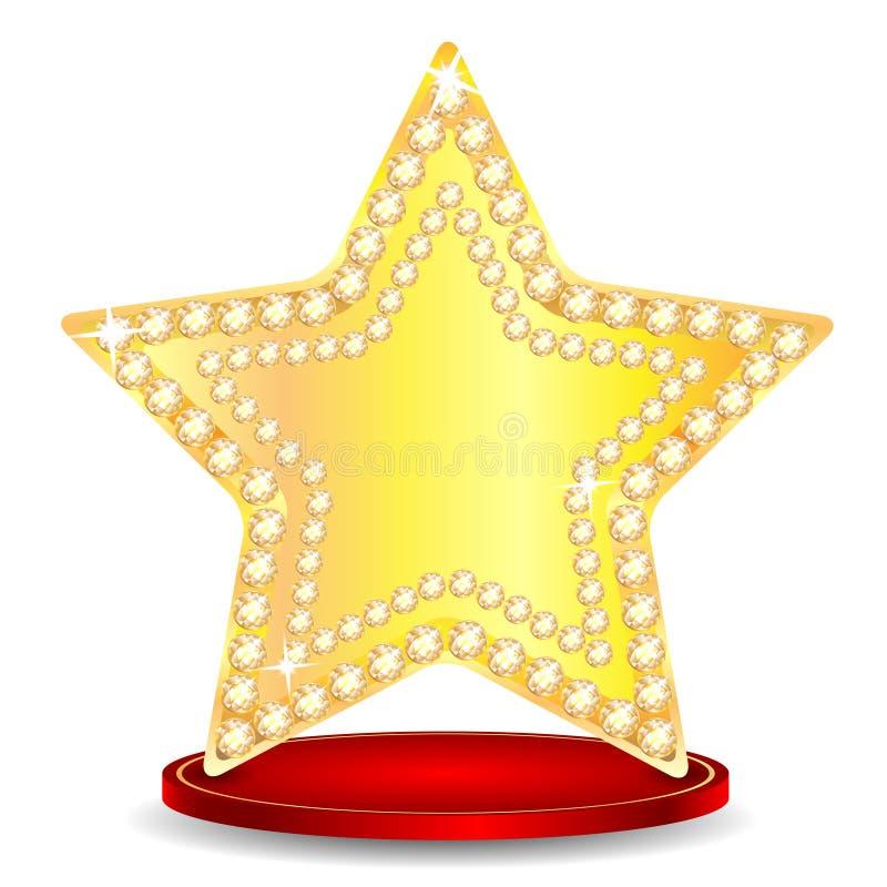 Złoto gwiazda na podium royalty ilustracja