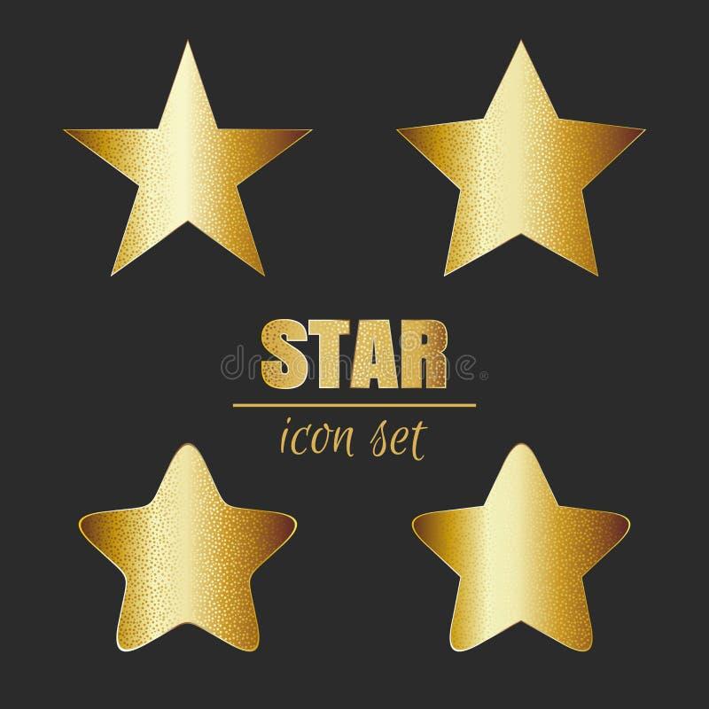 Złoto gwiazdowa ikona ustawiająca na ciemnym tle ilustracja wektor