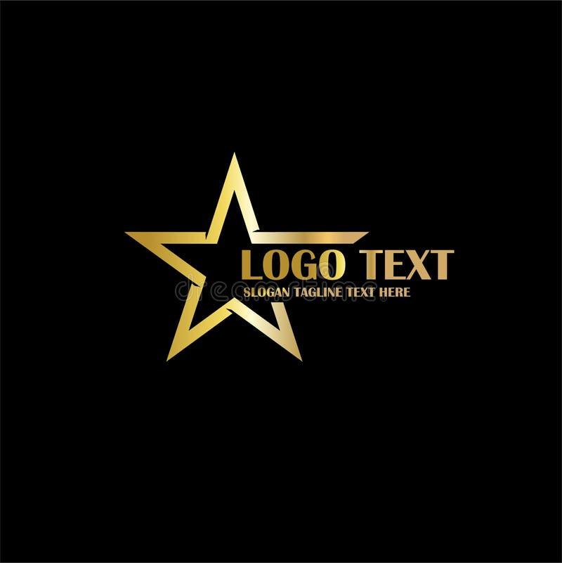 Złoto gwiazdowy logo dla symbolu splendoru luksusu loga obraz stock