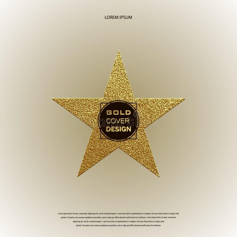 Złoto gwiazdowy logo Złoty błyszczący znak Luksusowa odznaka royalty ilustracja