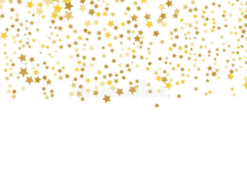 Złoto gwiazdowy wektor Połysk confetti wzór Spada błyszczące gwiazdy Złoty Gwiaździsty druk projekt prosty royalty ilustracja