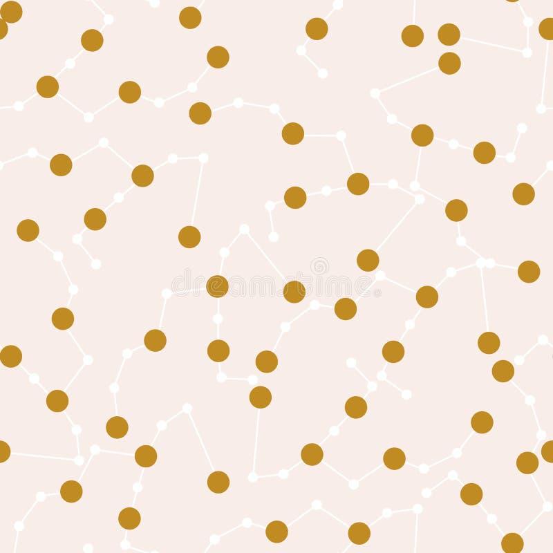 Złoto i biali niebiańscy elementy w bezszwowym deseniowym projekcie ilustracja wektor