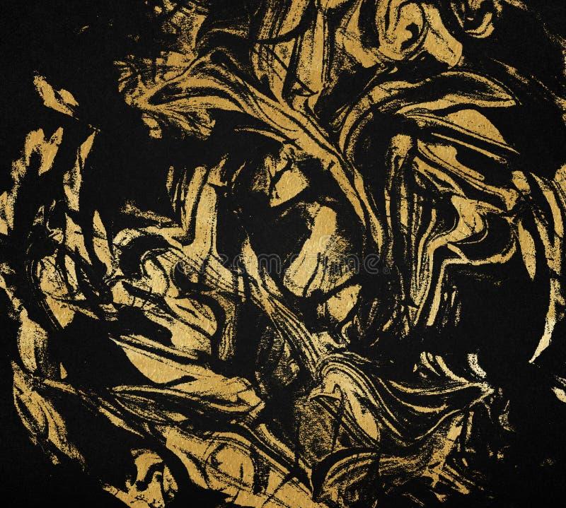 Złoto i czerni marmurowa tekstura Mieszany złoty obraz, ciemny luksusowy tło ilustracja wektor