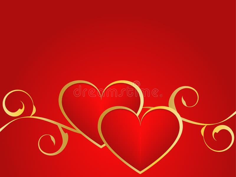 Złoto i czerwony miłości tło ilustracji