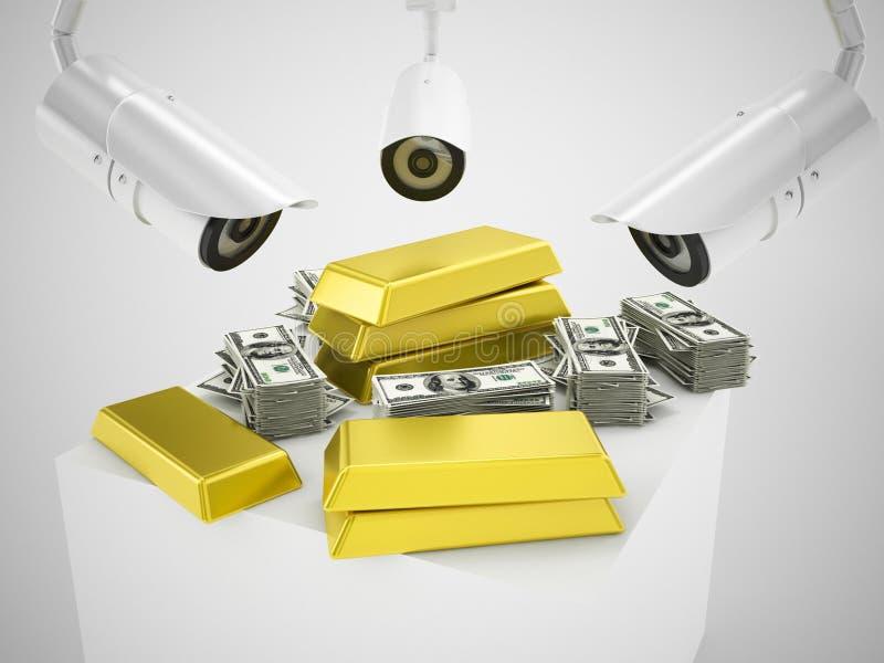 Złoto i kamery bezpieczeństwa ilustracji