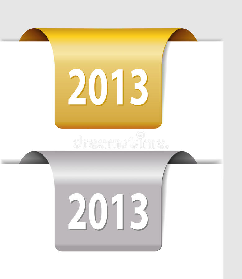 Złoto i srebro 2013 etykietki royalty ilustracja