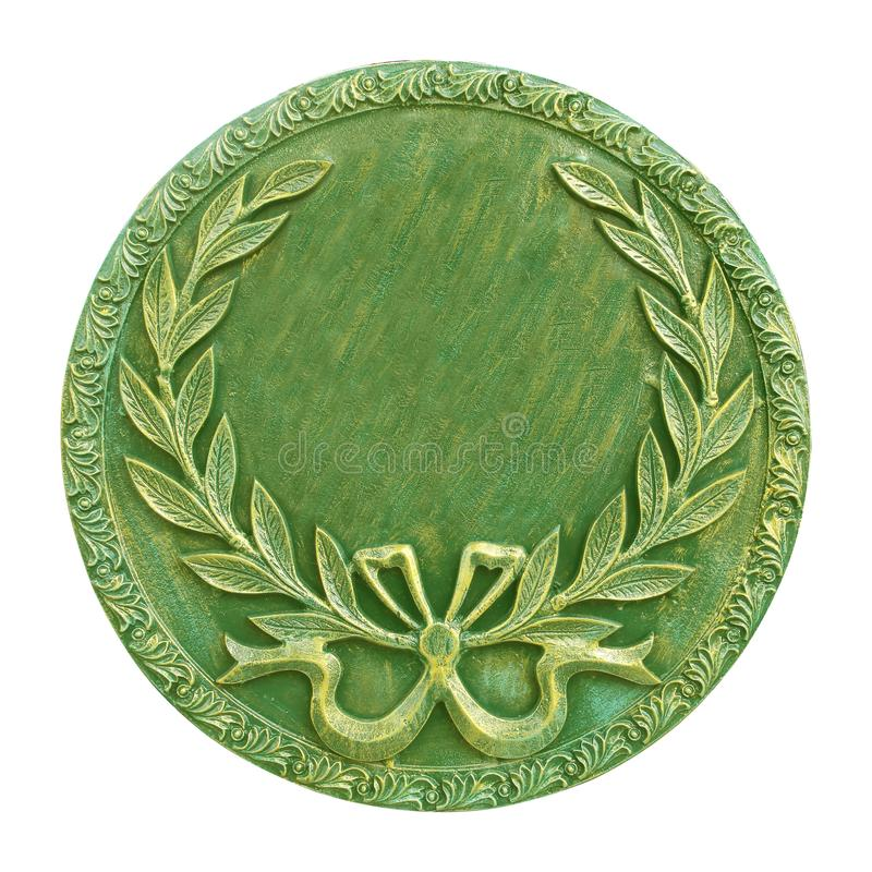 Złoto i zieleni round medal odizolowywający na białym tle zdjęcia royalty free