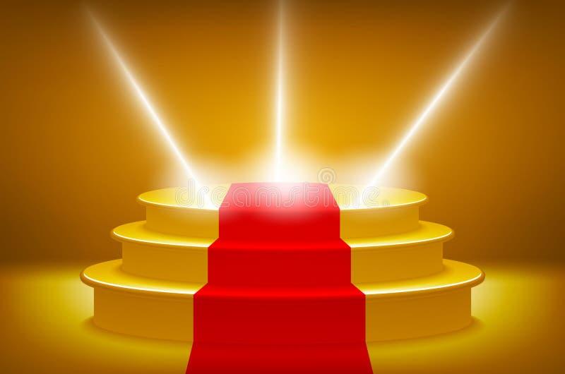 Złoto Iluminujący sceny podium dla ceremonii wręczenia nagród wektorowej ilustraci, czerwonego chodnika ślad ilustracja wektor