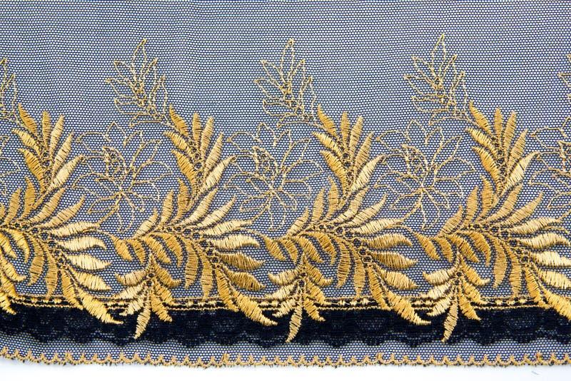 Złoto Koronkowa tkanina obraz stock