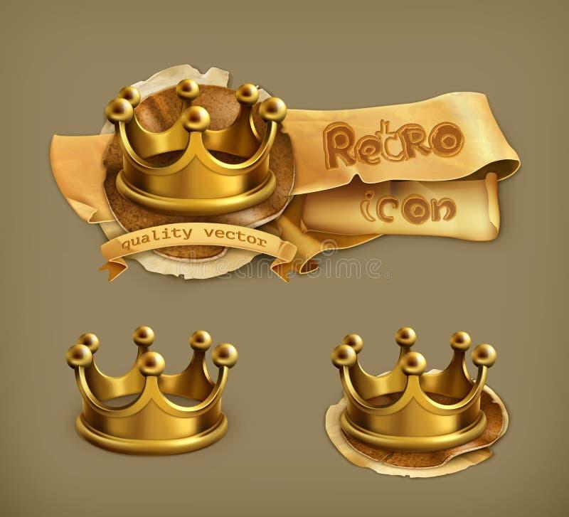 Złoto koronuje ikony ilustracja wektor