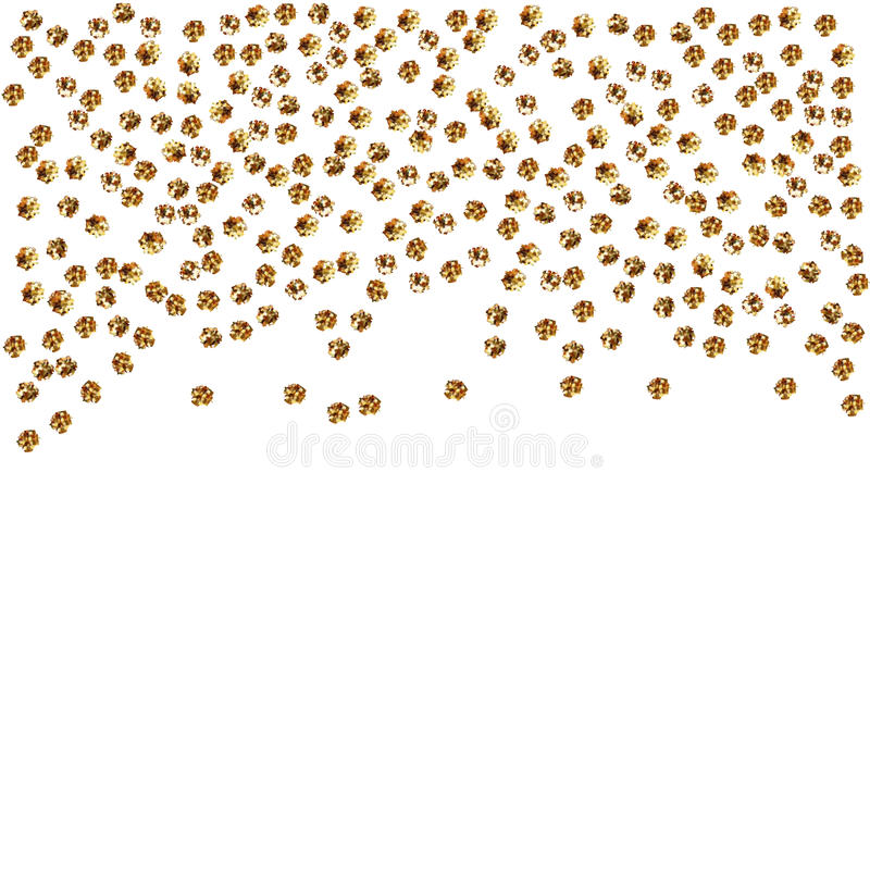 Złoto kropki odizolowywać na białym tle Spada złota abstrakcjonistyczna dekoracja dla przyjęcia, urodziny świętuje, rocznica lub  royalty ilustracja