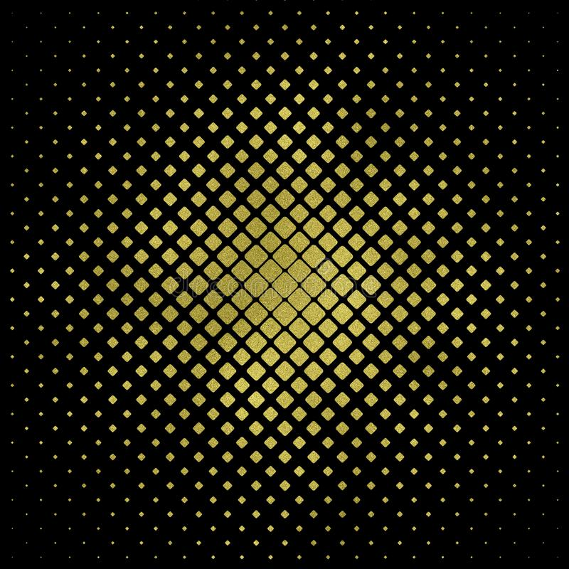 Złoto kwadrat na czarnym tle, złoto kwadratowa tekstura Błyskotliwość kwadrata wzór Błyskotliwości Geometryczna tapeta ilustracja wektor
