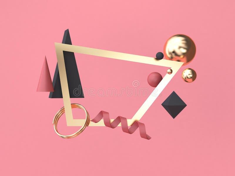 Złoto kwadrata ramy menchii tła minimalny abstrakcjonistyczny geometryczny kształt unosi się 3d rendering ilustracja wektor