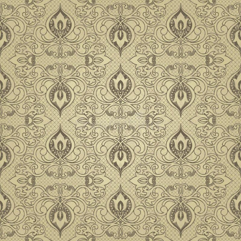 Złoto kwitnie bezszwowego wzór abstrakcjonistycznego kwiecisty tła wektora Złoty dekoracyjny projekt z geometrycznymi kształtami  ilustracja wektor