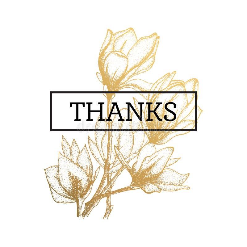 Złoto kwitnie, ilustracja, dzięki karty odizolowywać ilustracja wektor