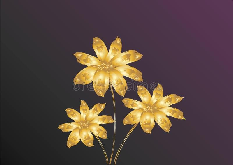 Złoto kwitnie na ciemnym tle ilustracja wektor