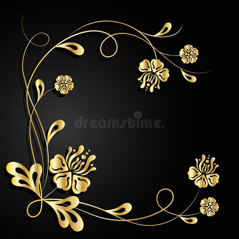 Złoto kwitnie z cieniem na ciemnym tle royalty ilustracja