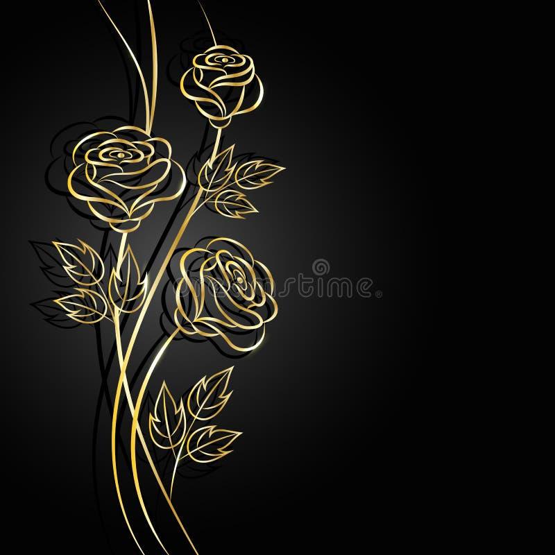 Złoto kwitnie z cieniem na ciemnym tle ilustracji