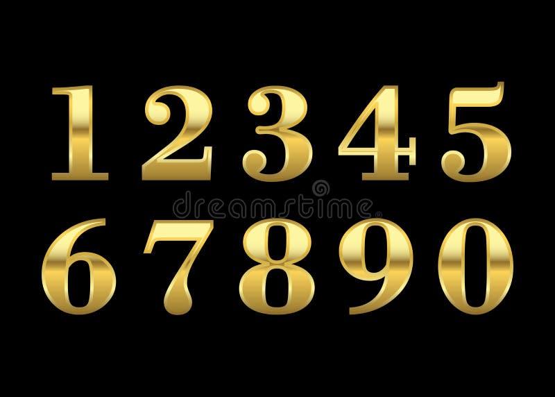 Złoto liczby odizolowywać royalty ilustracja