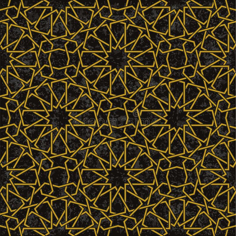 Złoto linii wzór z czarnym tłem w języka arabskiego stylu ilustracji