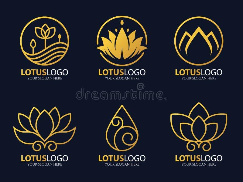 Złoto loga kreskowej lotosowej wektorowej sztuki ustalony projekt ilustracji