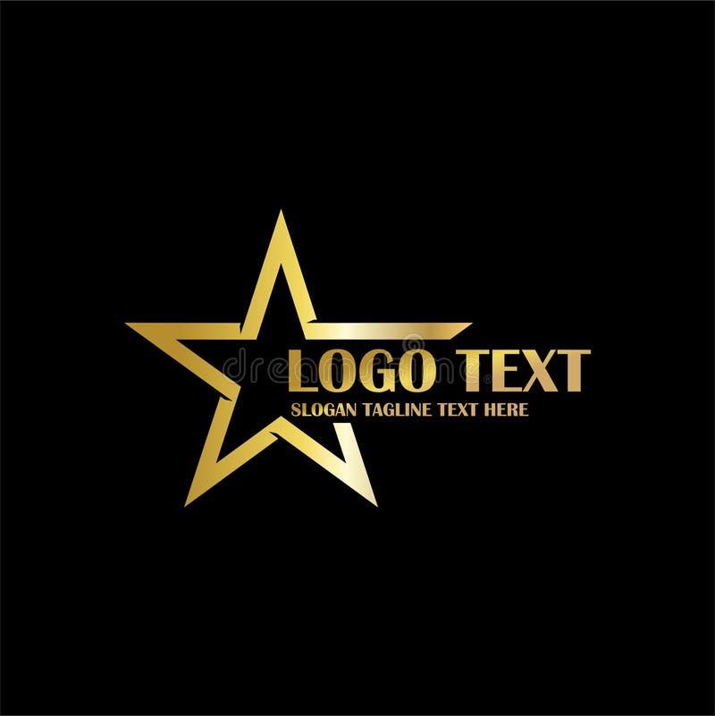Złoto loga tematu gwiazdowa ikona zdjęcie stock