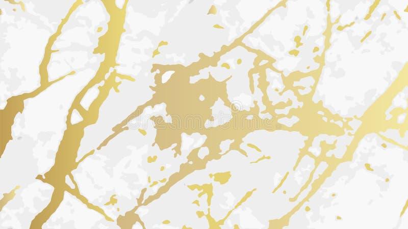 Złoto marmur, wektoru wzór z złotym foliowym tekstury tłem ilustracja wektor