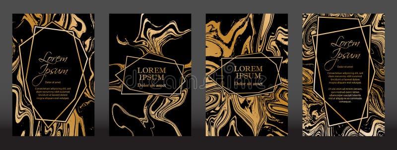 Złoto marmurowa tekstura i geometryczne ramy na czarnym tło wektoru secie ilustracji