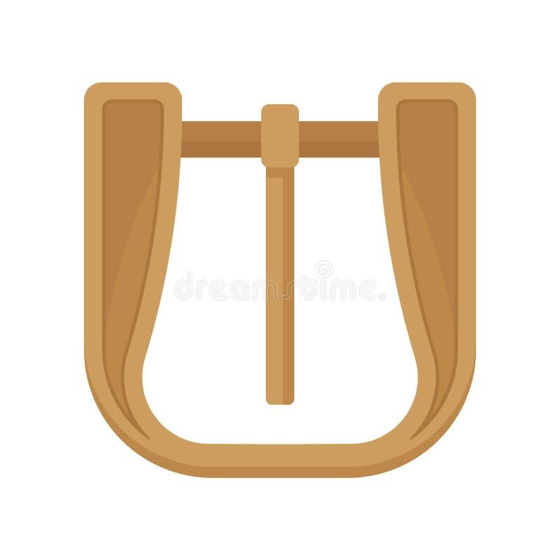 Złoto matrycująca metal klamra z zależącą od szpilką Mody ubraniowy akcesorium Element szata Płaska wektorowa ikona ilustracji