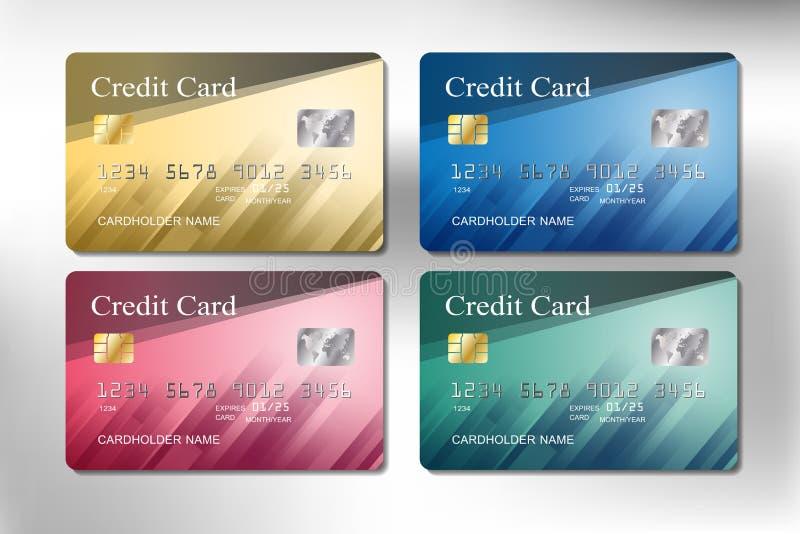 Złoto, menchie, zieleń i błękitny kolor kredytowej karty wektorowy projekt, zdjęcie royalty free
