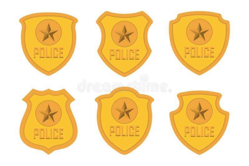 Złoto Milicyjna odznaka ustawia odosobnionego na białym tle ilustracji
