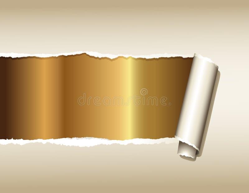 złoto nad papierem rozdzierającym ilustracji