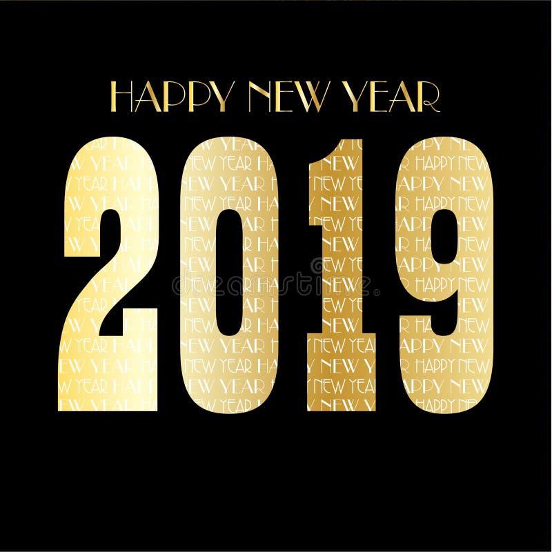 złoto nowy rok wigilii deseniowa 2019 grafika na czarnym tle ilustracji