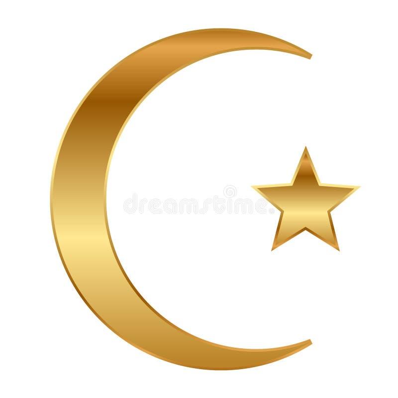 Złoto półksiężyc gwiazda i royalty ilustracja