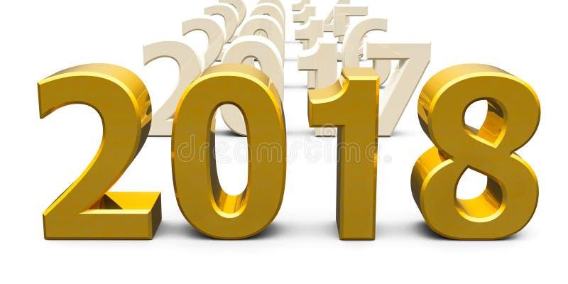 Złoto 2018 przychodzący ilustracja wektor