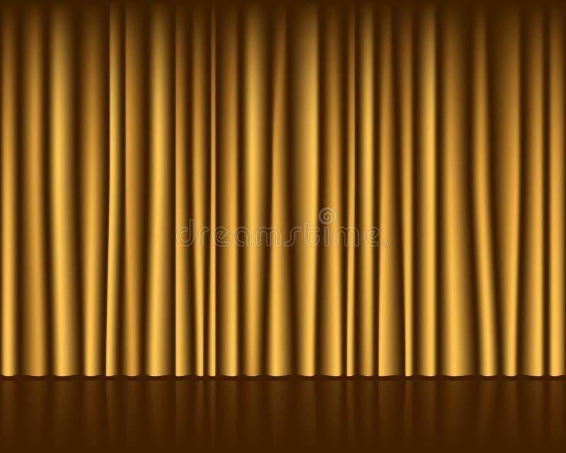 Złoto pusta scena z zasłona bezszwowym szablonem ilustracji