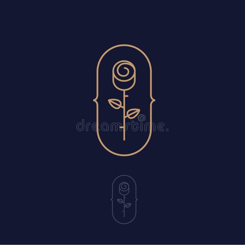 Złoto Różany logo Zdroju, bielizny lub kosmetyka emblemat, Wzrastał z liśćmi na ciemnym tle ilustracja wektor