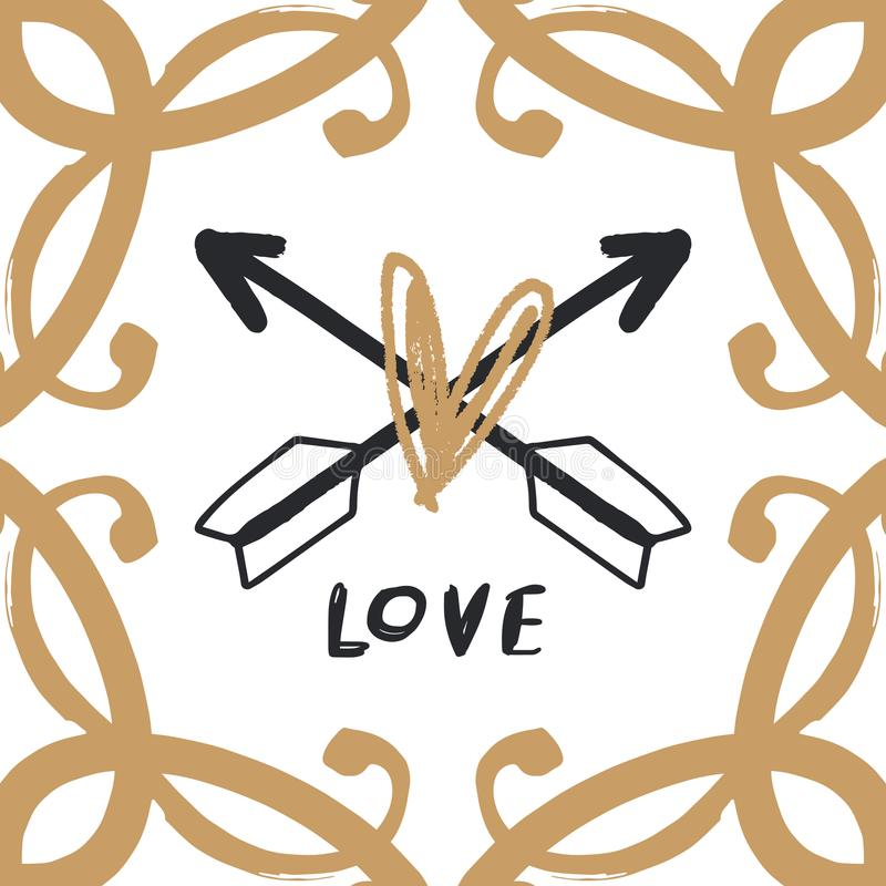 Złoto rama i boho strzała logo royalty ilustracja
